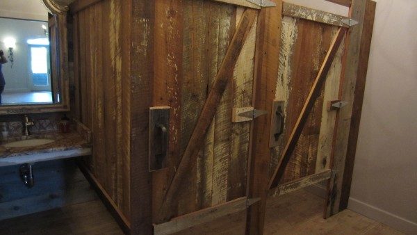 reclaimed barn wood restroom