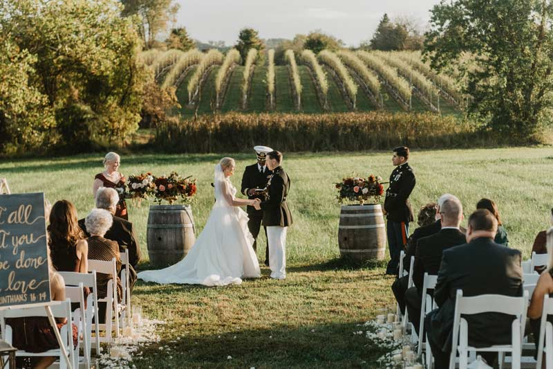 military ceremony in the vineyard