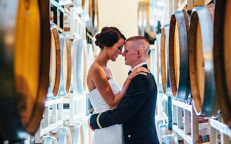 couple in the barrel room