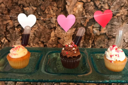 wine-infused cupcakes for Valentine's Day